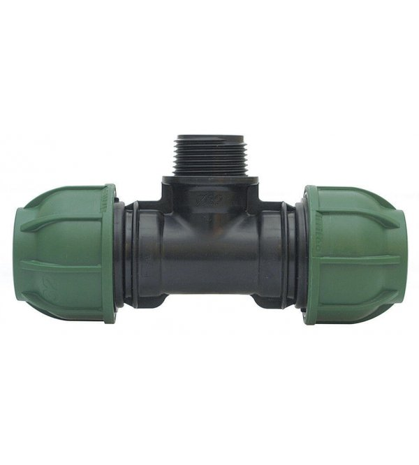 """Compression PP 90° tee for PE pipe IRRITEC with threaded male offtake 63x2""""x63"""